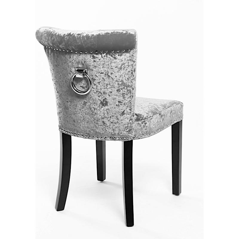 Regal Glam Crushed Velvet Silver Upholstered Dining Or