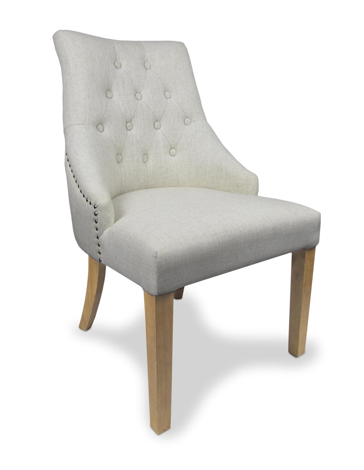 Home / Chairs / Chatsworth Natural Linen Style Upholstered Chair Set Of 2