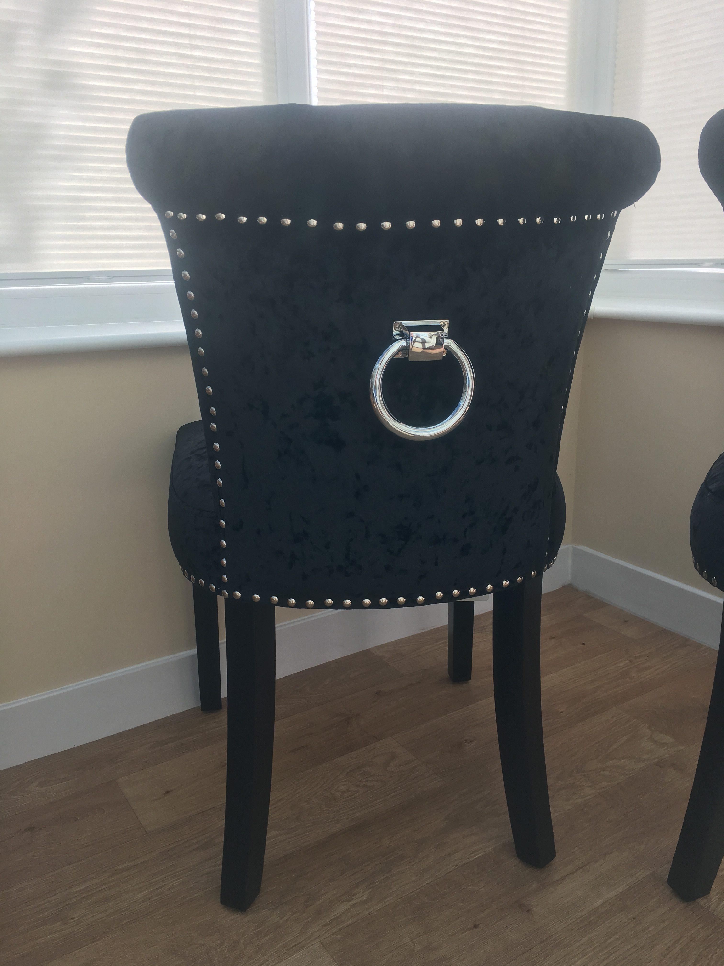Regal Glam Crushed Velvet Black Upholstered Dining Or