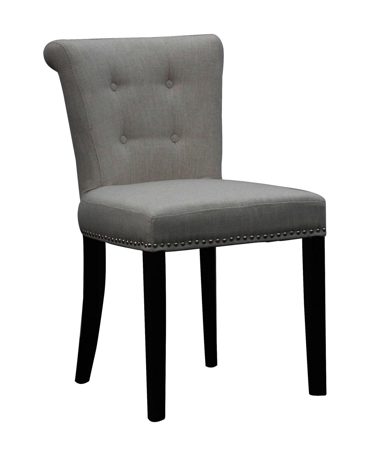 Regal Plush Grey Linen Style Upholstered Dining Or Accent